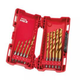 Milwaukee fémfúrókészlet 10db SHOCKWAVE™ HSS-G TiN Red Hex