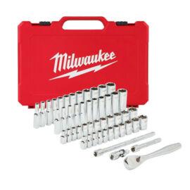 """Milwaukee 1/4"""" dugókulcs készlet metrikus és colos 50db-os"""