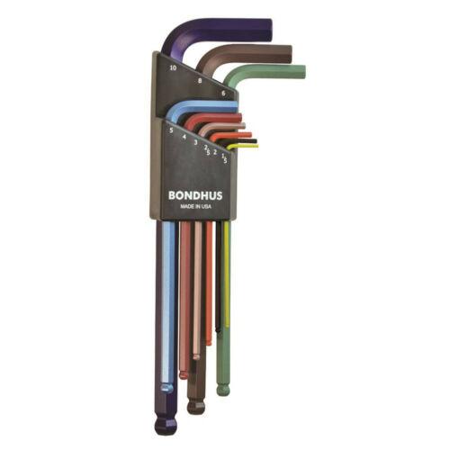 Bondhus színes imbuszkulcs készlet 9db hosszú gömbvégű 1,5-10mm