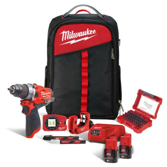 Milwaukee M12FPD-202XH ütvefúró-csavarozó hátizsákban +tartozékok vízvezeték szerelőknek